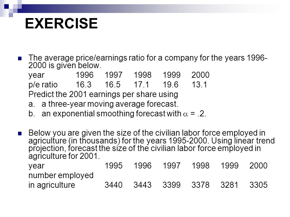 EXERCISE The average price/earnings ratio for a company for the years 1996-2000 is given below. year 1996 1997 1998 1999 2000.