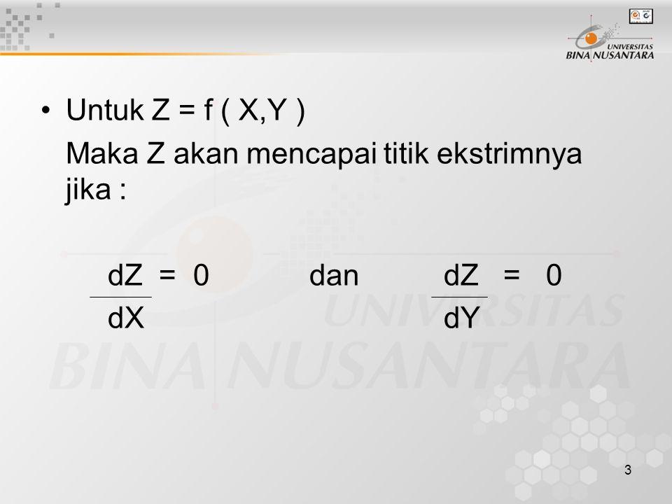 Untuk Z = f ( X,Y ) Maka Z akan mencapai titik ekstrimnya jika : dZ = 0 dan dZ = 0.