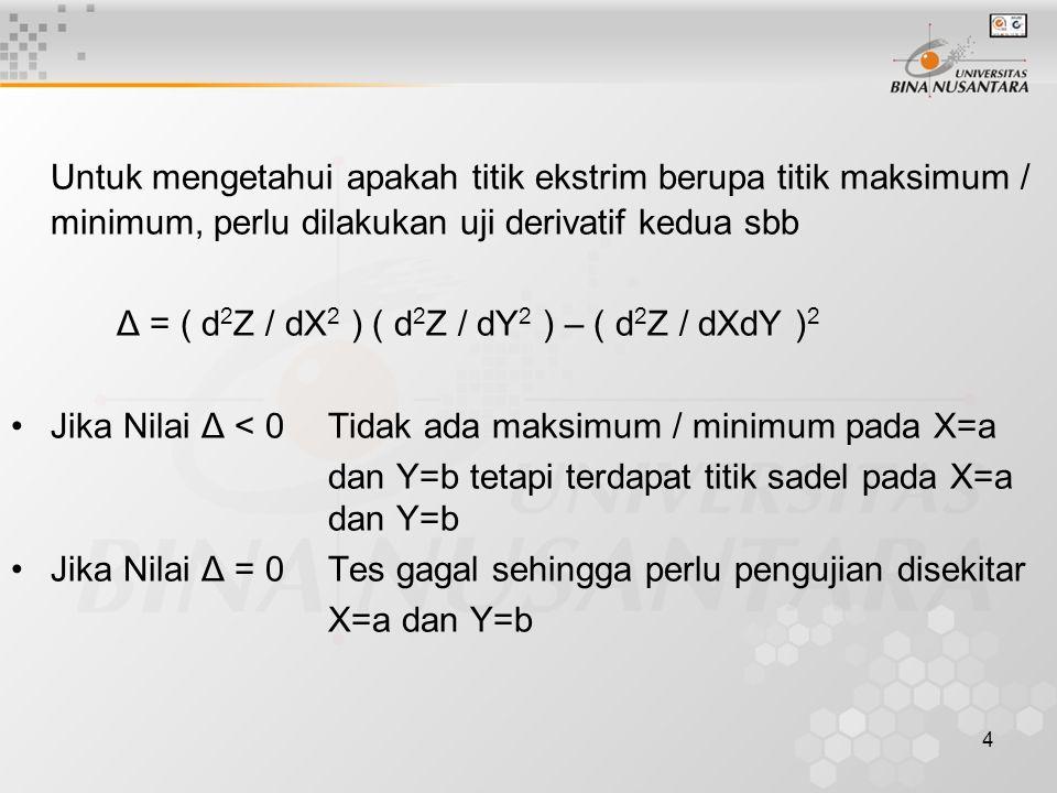 Untuk mengetahui apakah titik ekstrim berupa titik maksimum / minimum, perlu dilakukan uji derivatif kedua sbb