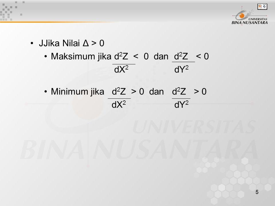 JJika Nilai Δ > 0 Maksimum jika d2Z < 0 dan d2Z < 0.