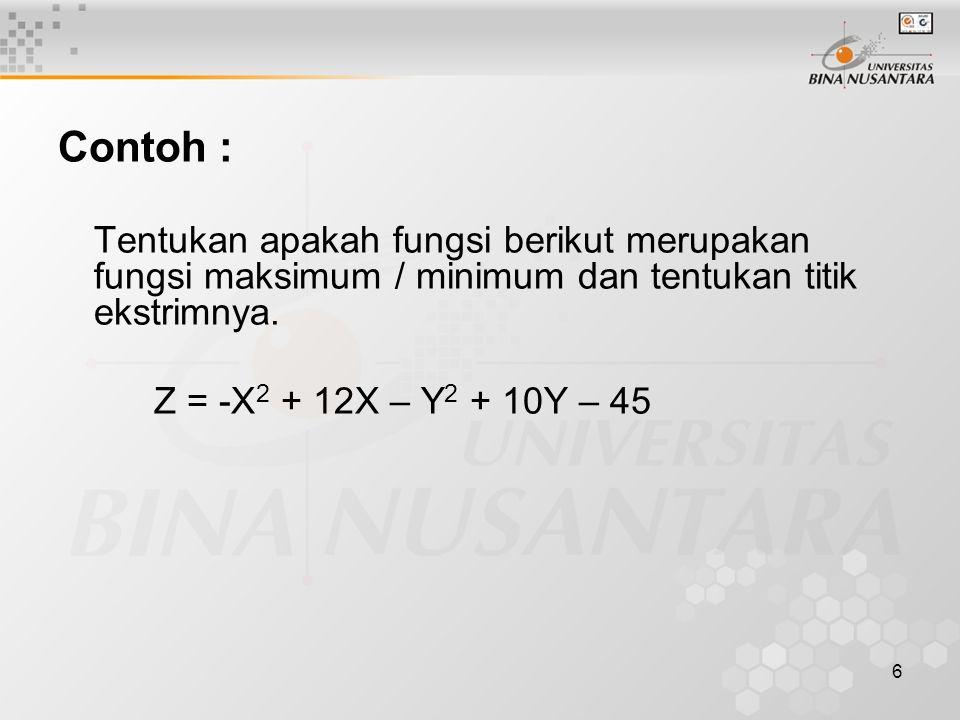 Contoh : Tentukan apakah fungsi berikut merupakan fungsi maksimum / minimum dan tentukan titik ekstrimnya.