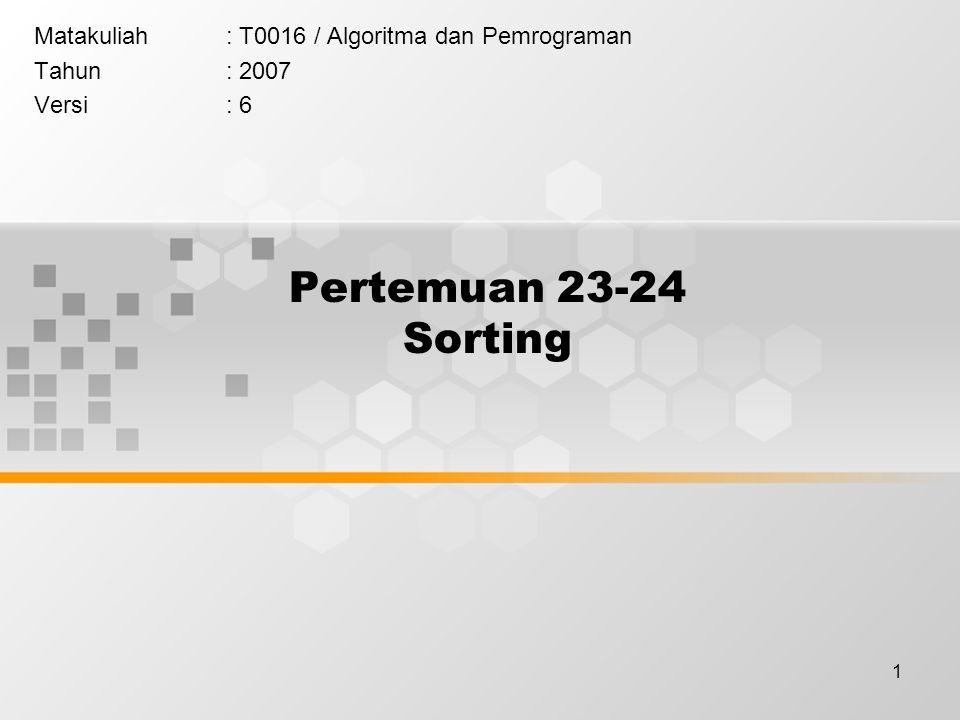 Matakuliah : T0016 / Algoritma dan Pemrograman Tahun : 2007 Versi : 6