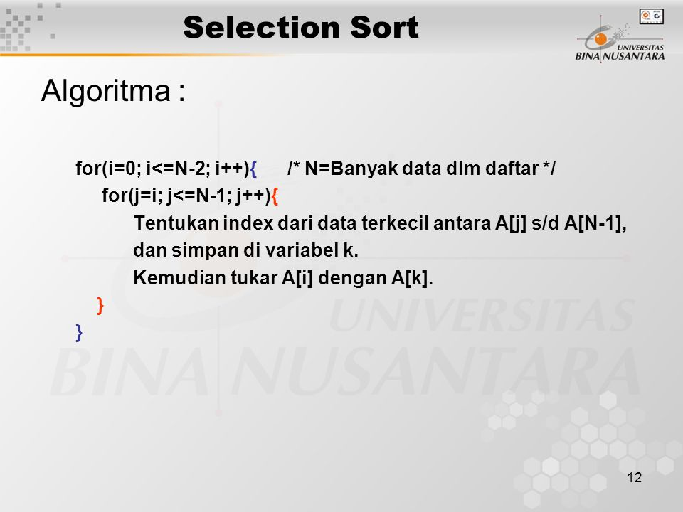 Selection Sort Algoritma :