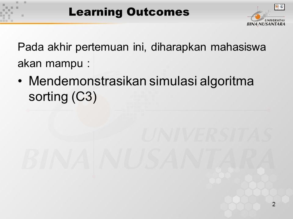 Mendemonstrasikan simulasi algoritma sorting (C3)