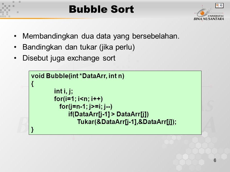 Bubble Sort Membandingkan dua data yang bersebelahan.