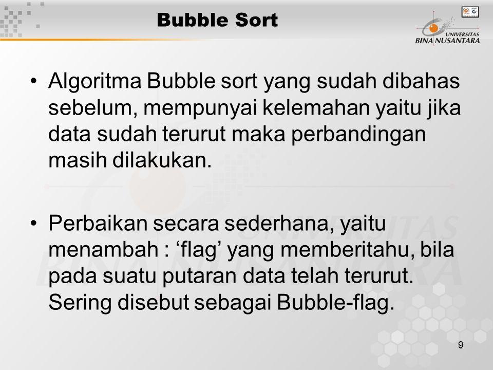 Bubble Sort Algoritma Bubble sort yang sudah dibahas sebelum, mempunyai kelemahan yaitu jika data sudah terurut maka perbandingan masih dilakukan.