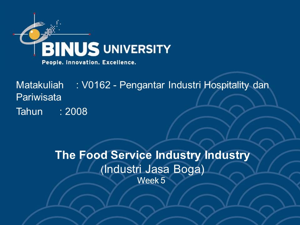 The Food Service Industry Industry (Industri Jasa Boga) Week 5