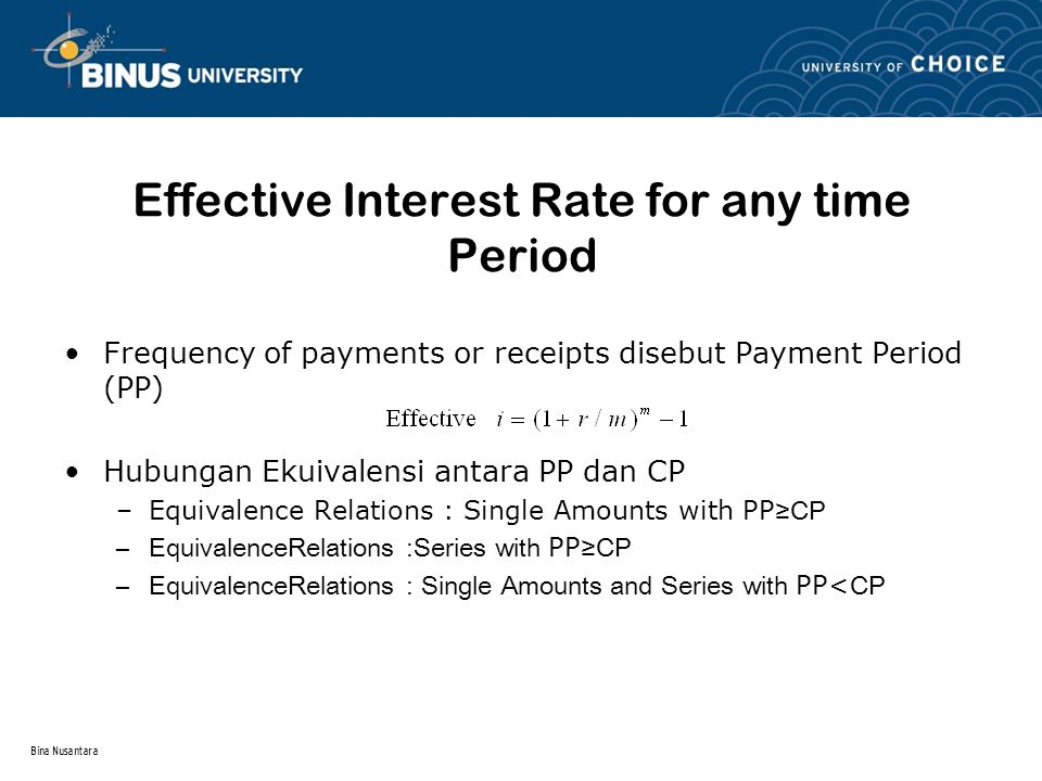 Effective Interest Rate for any time Period