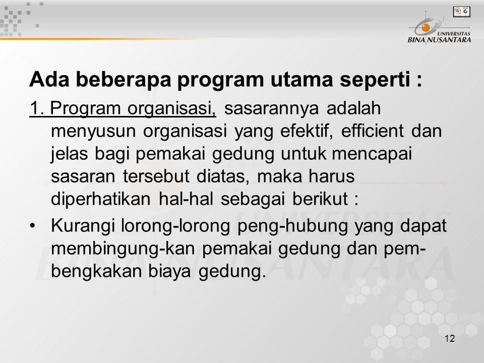 Ada beberapa program utama seperti :