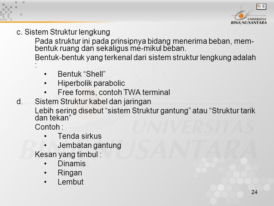 c. Sistem Struktur lengkung