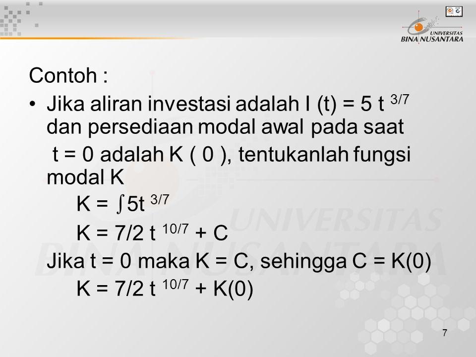 Contoh : Jika aliran investasi adalah I (t) = 5 t 3/7 dan persediaan modal awal pada saat. t = 0 adalah K ( 0 ), tentukanlah fungsi modal K.