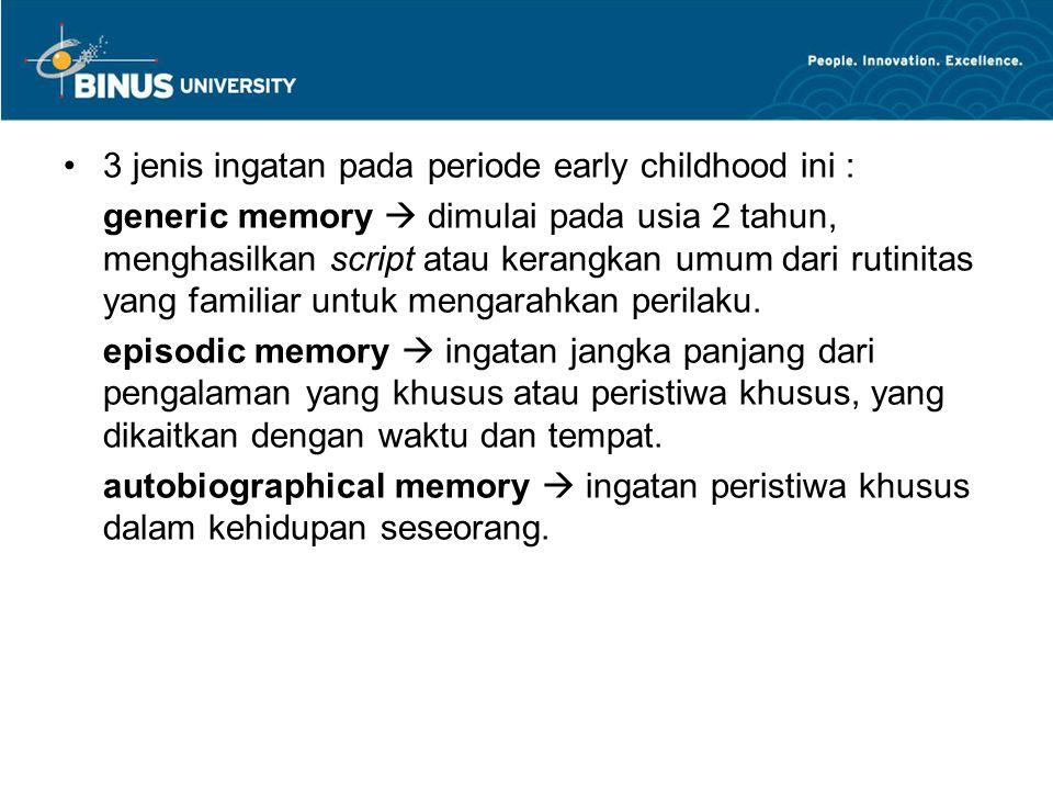 3 jenis ingatan pada periode early childhood ini :