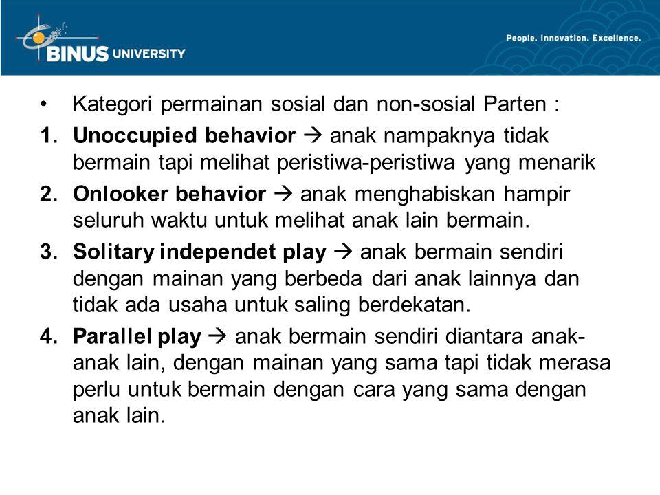 Kategori permainan sosial dan non-sosial Parten :