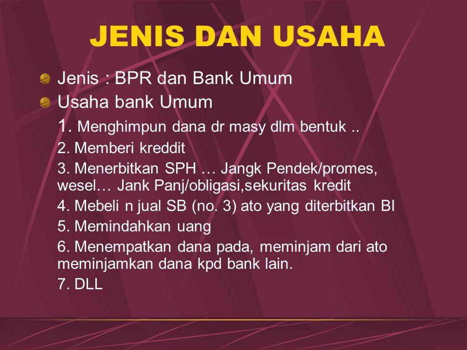 JENIS DAN USAHA Jenis : BPR dan Bank Umum Usaha bank Umum