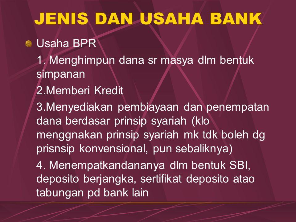 JENIS DAN USAHA BANK Usaha BPR