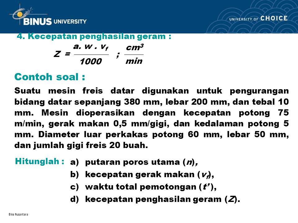Contoh soal : 4. Kecepatan penghasilan geram : a. w . vf cm3 Z = ;
