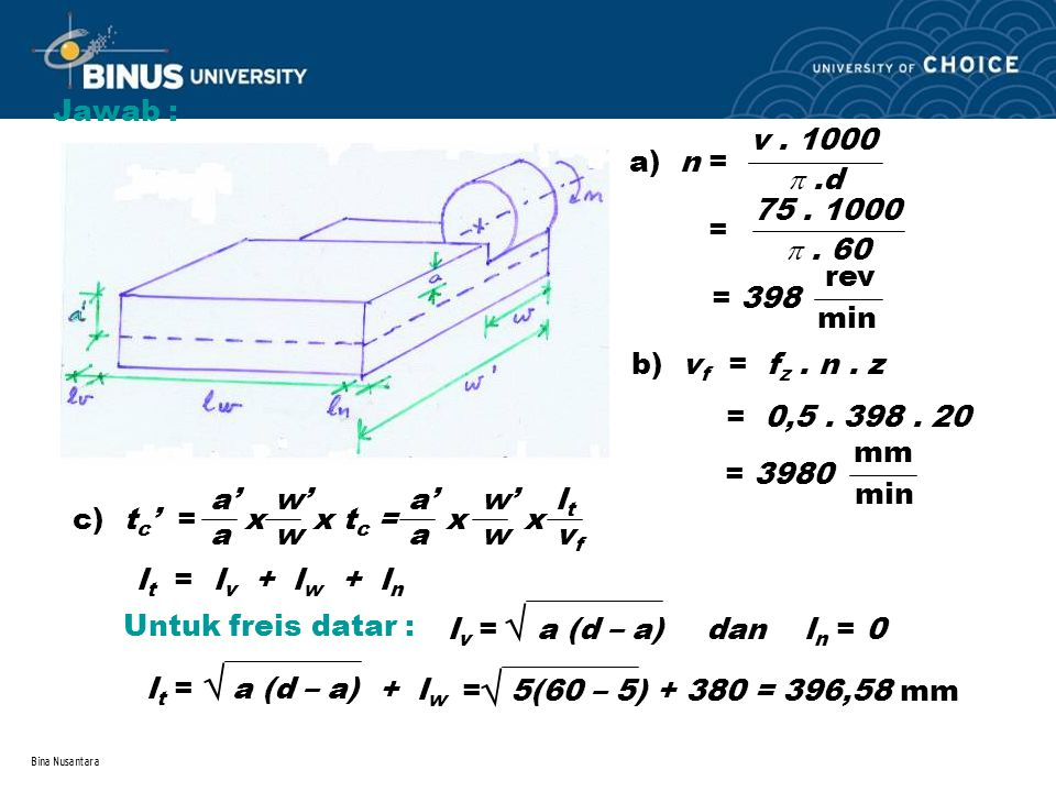   Jawab : a) n = v . 1000  .d =  . 60 75 . 1000 rev min = 398
