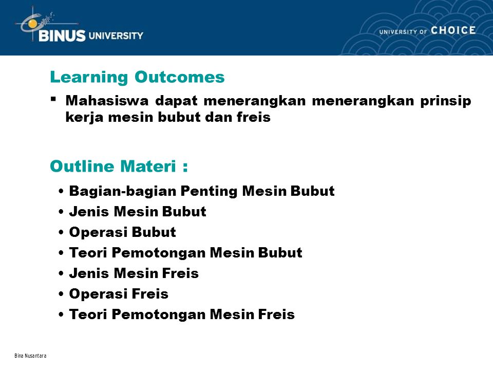 . Learning Outcomes Outline Materi :