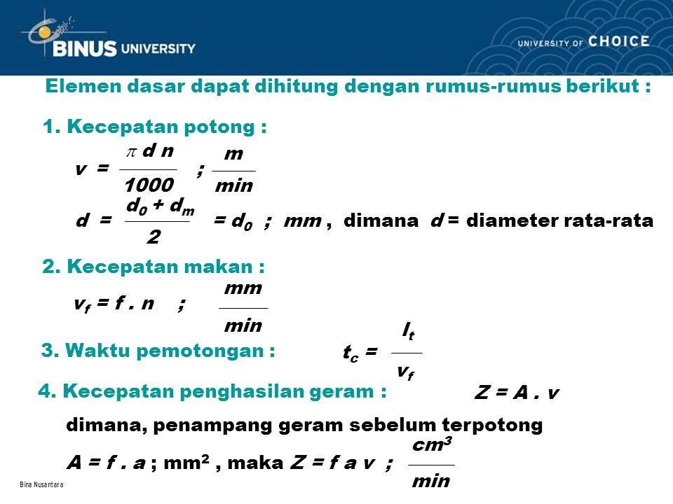 Elemen dasar dapat dihitung dengan rumus-rumus berikut :