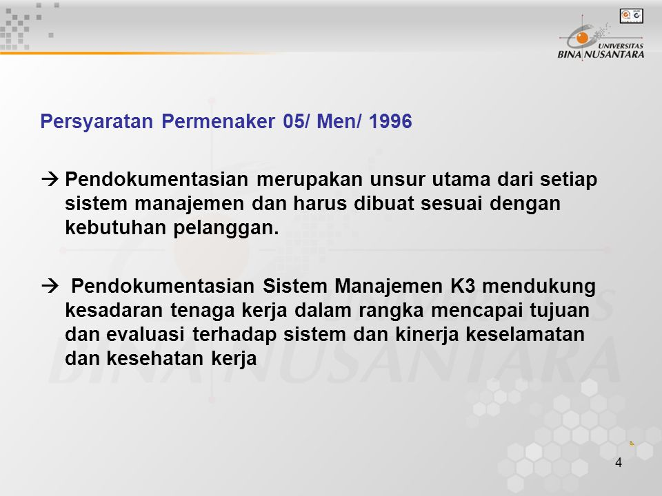 Persyaratan Permenaker 05/ Men/ 1996