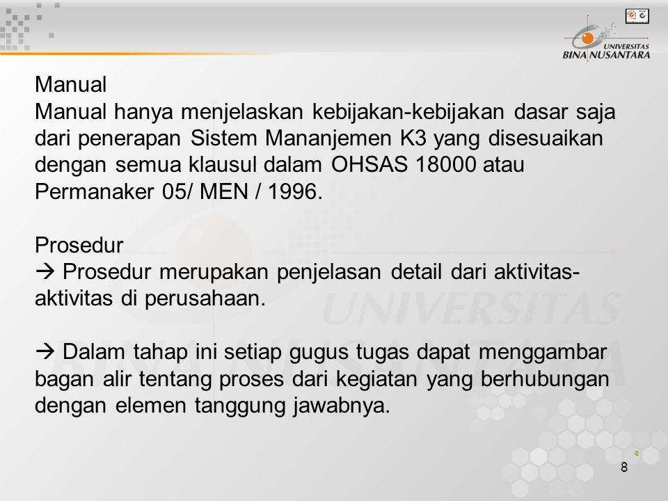 Manual Manual hanya menjelaskan kebijakan-kebijakan dasar saja dari penerapan Sistem Mananjemen K3 yang disesuaikan dengan semua klausul dalam OHSAS 18000 atau Permanaker 05/ MEN / 1996.
