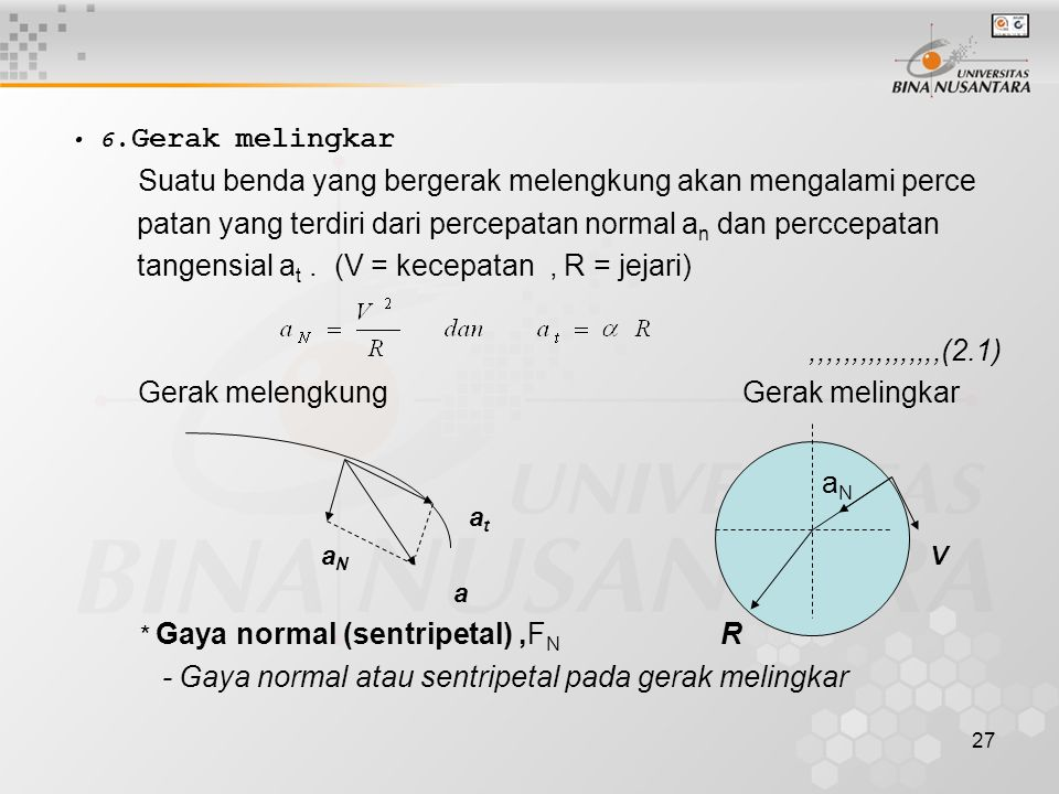 patan yang terdiri dari percepatan normal an dan perccepatan