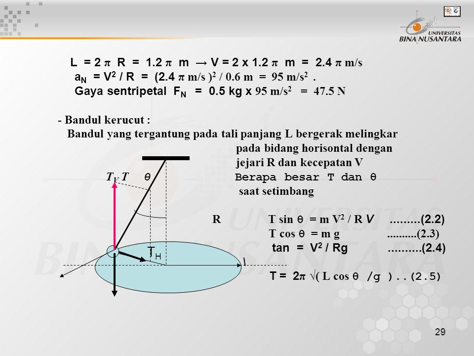 TH aN = V2 / R = (2.4 π m/s )2 / 0.6 m = 95 m/s2 .