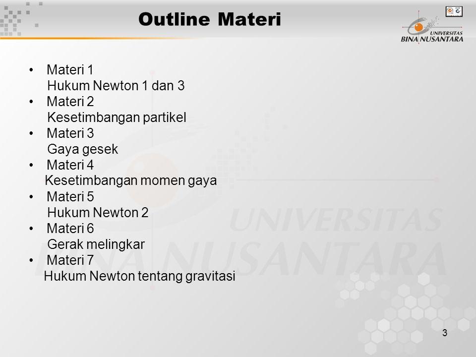 Outline Materi Materi 1 Hukum Newton 1 dan 3 Materi 2