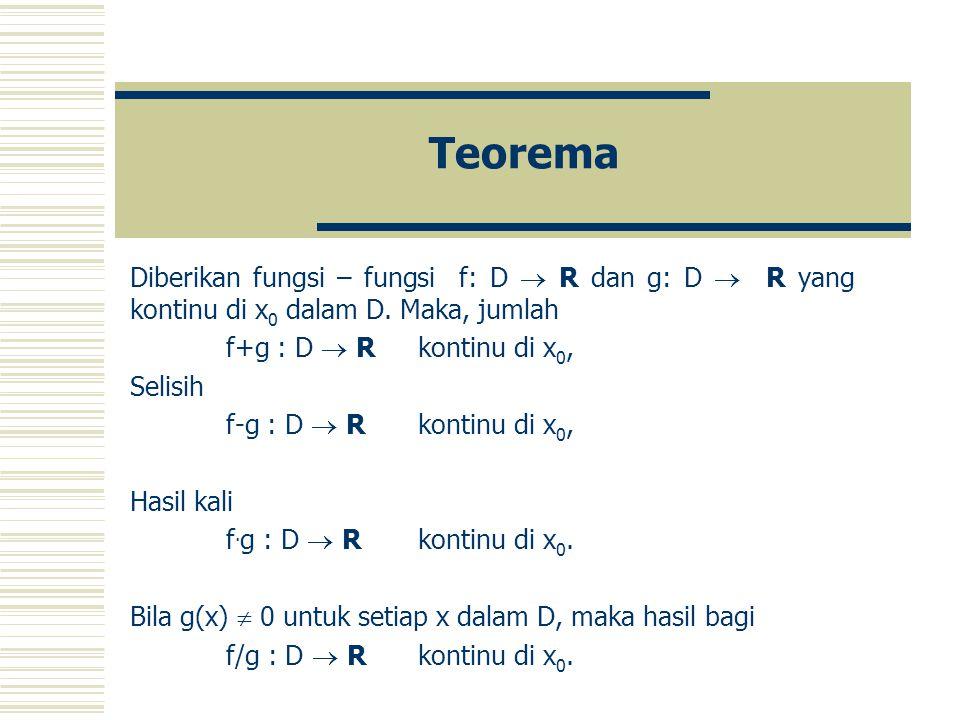 Teorema Diberikan fungsi – fungsi f: D  R dan g: D  R yang kontinu di x0 dalam D. Maka, jumlah.
