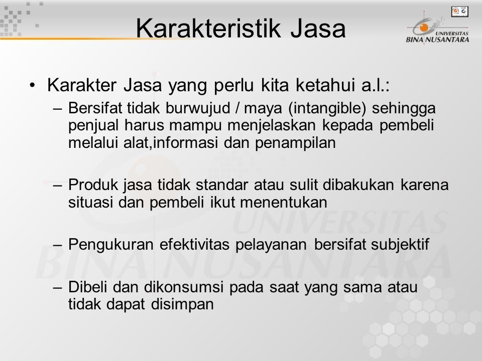 Karakteristik Jasa Karakter Jasa yang perlu kita ketahui a.l.:
