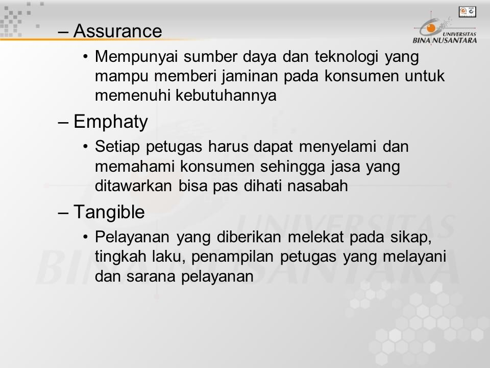 Assurance Emphaty Tangible