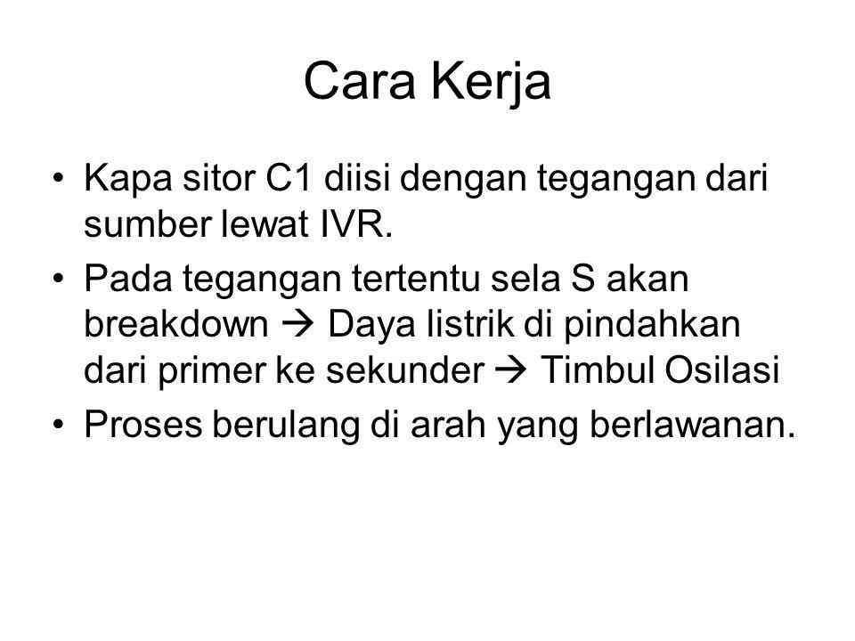 Cara Kerja Kapa sitor C1 diisi dengan tegangan dari sumber lewat IVR.