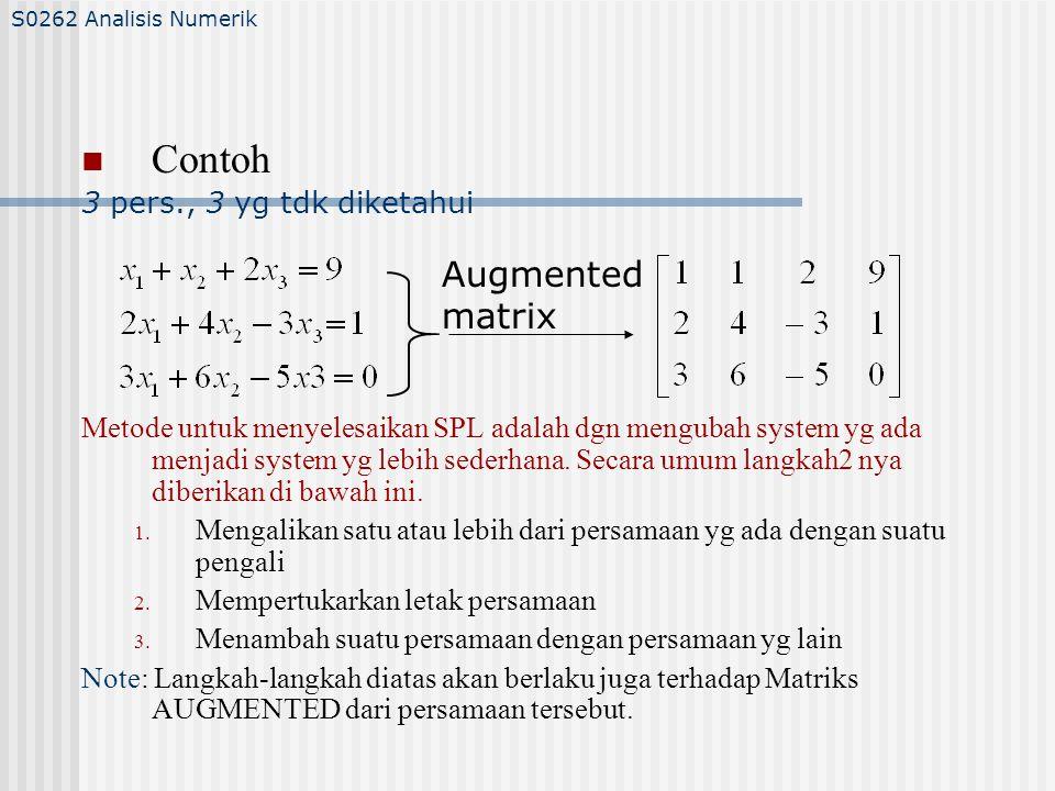 Contoh Augmented matrix 3 pers., 3 yg tdk diketahui