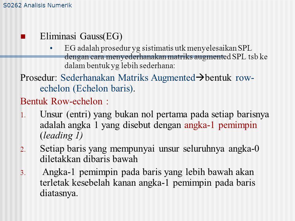 S0262 Analisis Numerik Eliminasi Gauss(EG)