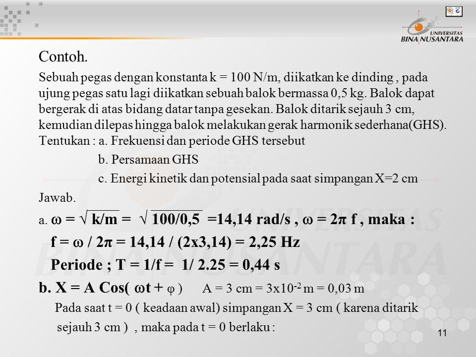 b. X = A Cos( t + φ ) A = 3 cm = 3x10-2 m = 0,03 m
