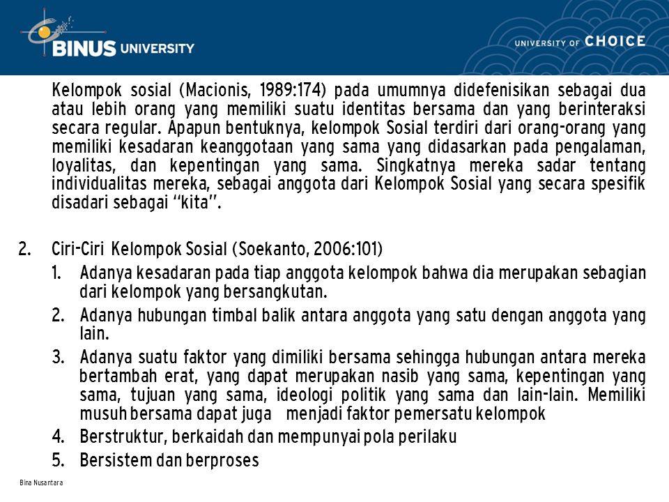 Ciri-Ciri Kelompok Sosial (Soekanto, 2006:101)