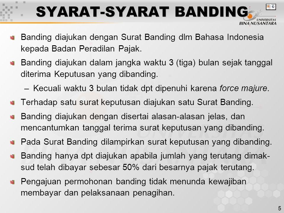 SYARAT-SYARAT BANDING