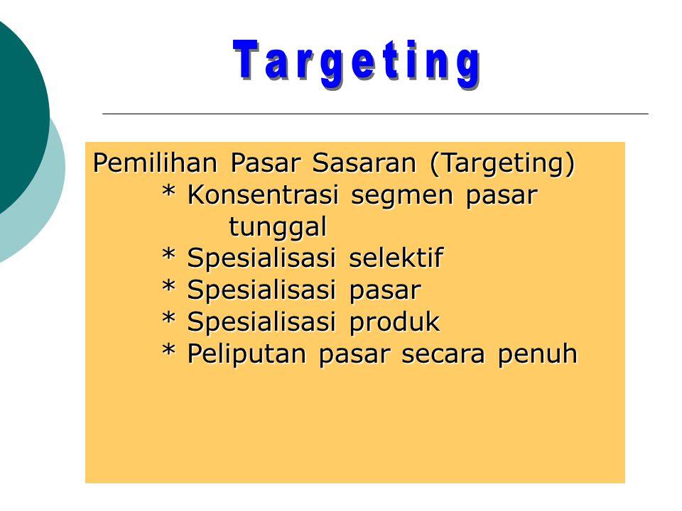 Targeting Pemilihan Pasar Sasaran (Targeting)