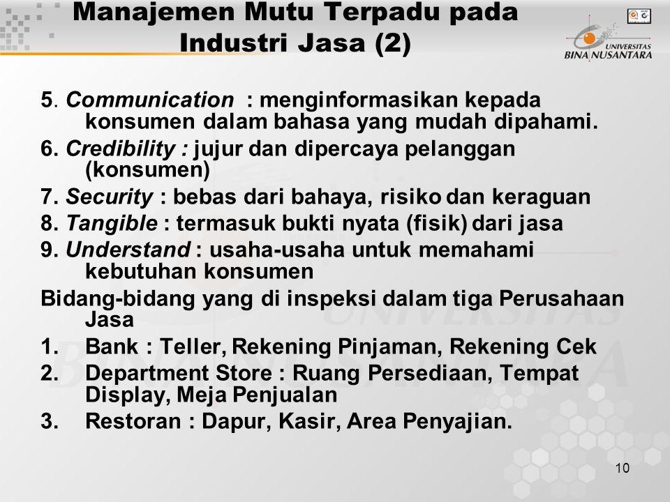 Manajemen Mutu Terpadu pada Industri Jasa (2)