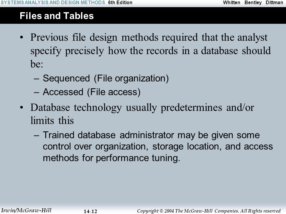 Database technology usually predetermines and/or limits this