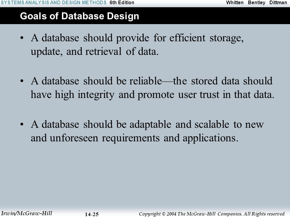 Goals of Database Design