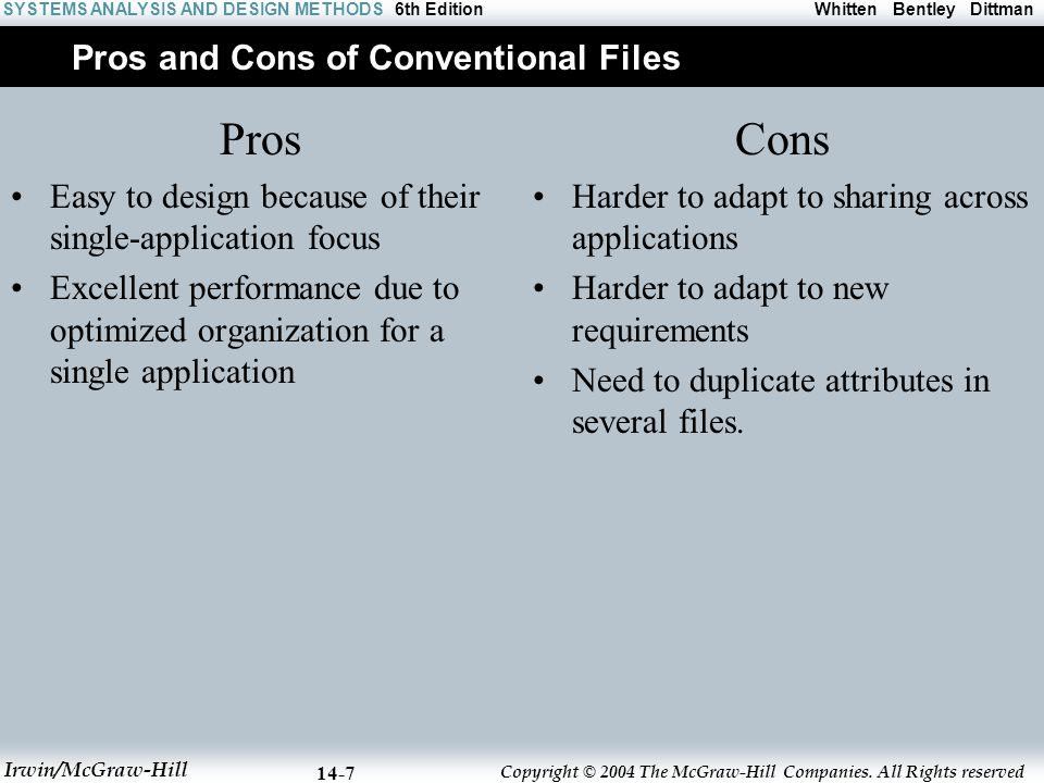 Pros and Cons of Conventional Files