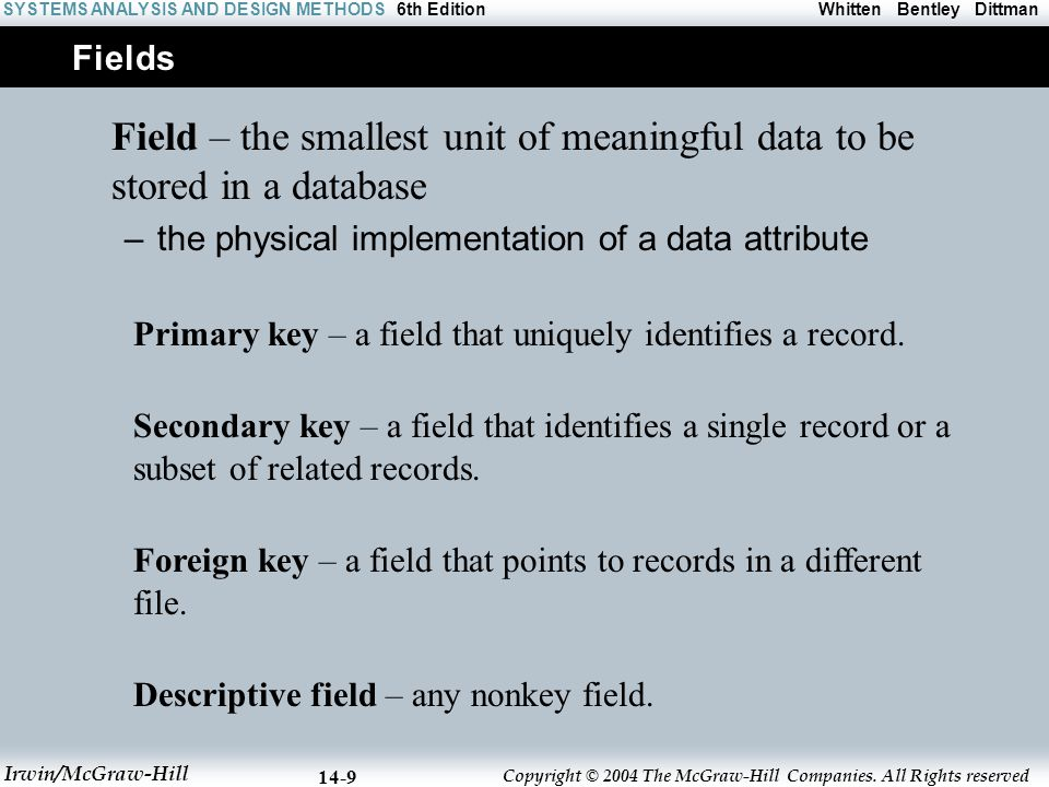 Fields Field – the smallest unit of meaningful data to be stored in a database. the physical implementation of a data attribute.