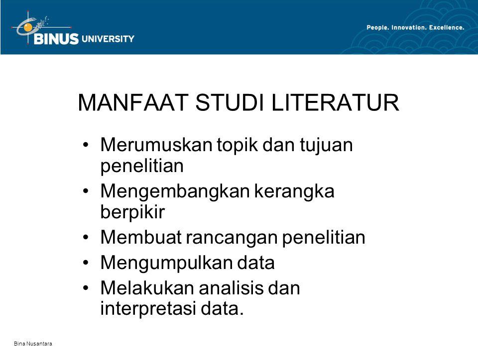 MANFAAT STUDI LITERATUR