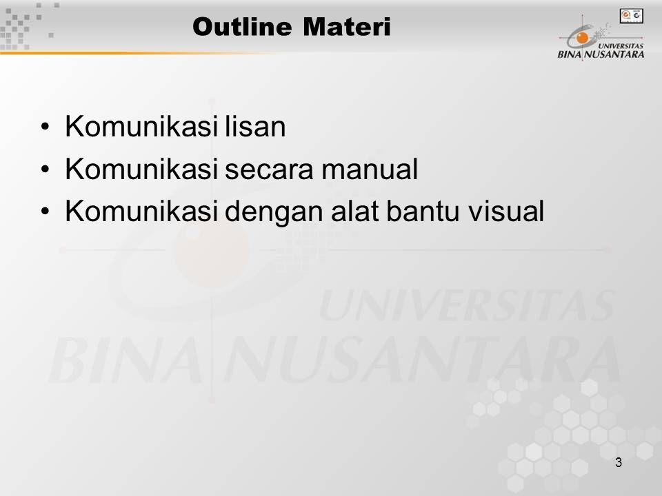 Komunikasi secara manual Komunikasi dengan alat bantu visual