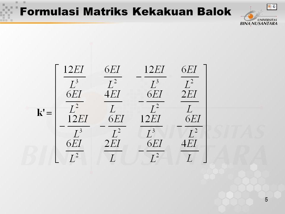 Formulasi Matriks Kekakuan Balok