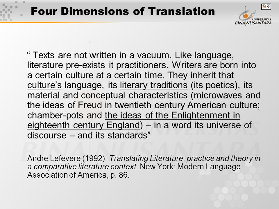 Four Dimensions of Translation