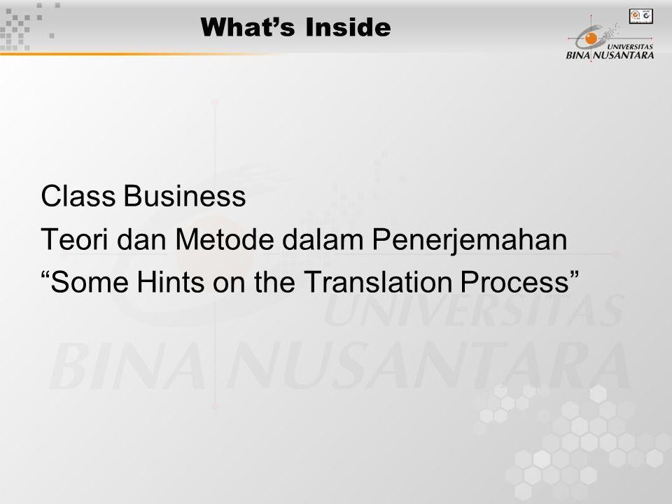 Teori dan Metode dalam Penerjemahan