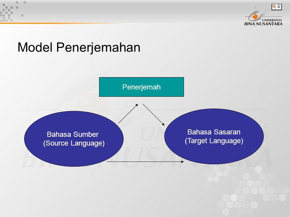 Model Penerjemahan Penerjemah Bahasa Sasaran Bahasa Sumber