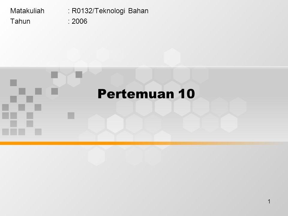 Matakuliah : R0132/Teknologi Bahan Tahun : 2006